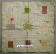 1732 Very Early Colorful Antique Dutch Darning Mending Sampler Samplers photo