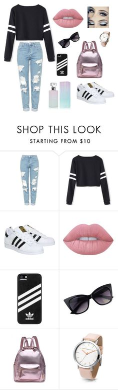 """""""Untitled #34"""" by hannah-hines ❤ liked on Polyvore featuring Topshop, adidas, Lime Crime, Calvin Klein and stripedshirt"""