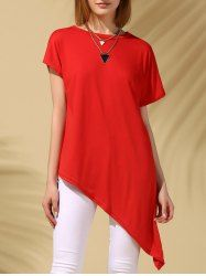 Camiseta de las mujeres de manga corta de color sólido ocasional de cuello redondo asimétricas