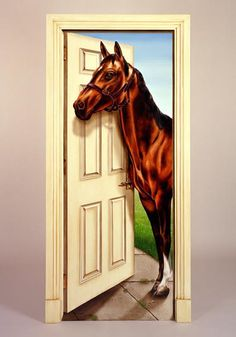 Hand Painted Trompe Lu0027Oeil Door Panel with Lifesize Horse. & Door Wall or Fridge STICKER Horses Stall Barn mural decole wrap skin ...