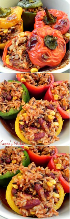 Vegan Stuffed Peppers! Sweet Bell Peppers stuffed with a hearty and filling mixture of tomatoes, wild rice, beans, vegetables and corn.