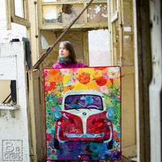 """Karolina of B-craft.pl created this absolutely stunning art quilt that she has named """"Isetta 300"""". The entire work was created using her favorite Kaffe Fassett & Liberty London fabrics. She quilted it piece by piece using #Aurifil 50wt thread in a variety of colors. To see more please visit http://b-craft.pl/isetta-300/"""