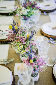 wildflower centerpiece for a country wedding