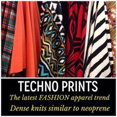 #technoprint #scubaknit #neoprene #fashion #projectrunway  AKA scuba knit from Mill End Store www.millendstore.com