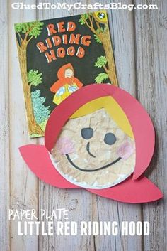 This is our children's book inspired Paper Plate Little Red Riding Hood - Kid Craft tutorial! Check it out and craft it up today! Fairy Tale Crafts, Fairy Tale Theme, Fairy Tale Activities, Craft Activities, Glue Crafts, Book Crafts, Red Crafts, Easy Crafts, Nursery Rhyme Crafts