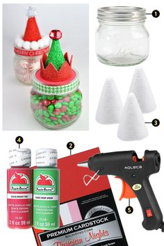 Santa and Elf Hat Candy Jars - This sweet craft is a holiday hit for a reason. Not only are mason jars super trendy and apparently never going out of style! but the focus on creating the hats of an elf or Santa make the project extra fun and cute. Homemade Christmas Gifts, Christmas Crafts For Kids, Christmas Fun, Holiday Crafts, Kids Crafts, Baby Food Jar Crafts, Baby Jars, Baby Food Jars, Sweet Jars