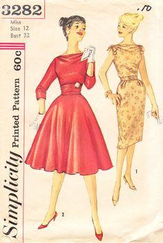 1960s Vintage Simplicity Pattern No. 3282 For Juniors or Misses EVENING DRESS With Bias Bodice - Cowl Neckline - 2 Variations And CUMMERBUND. $12.00, via Etsy.