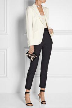 Alexander McQueen Grain de poudre wool blazer   D&G pants   Gianvito Rossi sandals   Jennifer Fisher chocker