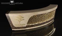 Reception Counter - Andalusia on Behance Cash Counter Design, Reception Counter Design, Office Reception Design, Clinic Interior Design, Clinic Design, Gym Interior, Lobby Reception, Reception Areas, Reception Desks