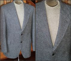 Wool HARRIS TWEED Sport Coat 40 R Blue by VoraciouslyVintage