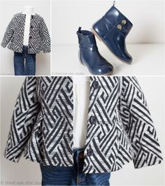 Toddler girls fashion: H&M geometric print Unicef All for Children jacket, Baby Gap boots #kidsfashion #kidsstyle