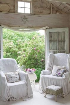The Gardener's Cottage, complete with a tiny cupola and Victorian trim, is decorated with lovely feminine touches—soft hues and lots of lace. Cottage Shabby Chic, Style Cottage, Shabby Chic Living Room, French Country Cottage, White Cottage, French Country Decorating, Shabby Chic Decor, Cottage Living, Wabi Sabi
