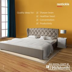 Your bed can directly affect the quality of your sleep. Say hello to cozy beds you won't ever want to leave!  Book Now   Thinking of Renting. Think of Rentickle!  . . #bedroomdesign #bedroomdecor #interior #comfortfirst #bedroominterior #bedroominteriordesign #furnitureonrent #rentickle #furniturerental #rentfurniture #wingbed #qualitysleep Boys Bedroom Paint, Bedroom Tv Wall, Coastal Master Bedroom, Bedroom Wall Designs, Girls Bedroom Furniture, Baby Bedroom, Bedroom Decor, Grey Bedroom With Pop Of Color, Beds Online