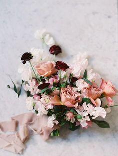 blush and burgundy romantic bouquet