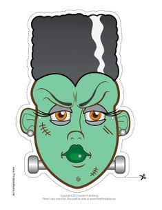 This Bride of Frankenstein Monster Mask features the tall hairdo with a zig-zag white stripe on the side. Free to download and print