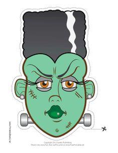 Free Bride of Frankenstein Printable Mask