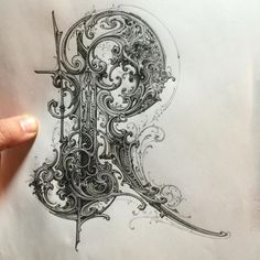 typeverything: R pencil on paper by Types Of Lettering, Lettering Styles, Lettering Design, Hand Lettering, Calligraphy Alphabet, Typography Letters, Filigree Tattoo, Typography Drawing, Creative Lettering