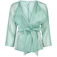 Womens Evening Jackets Armani Collezioni Turquoise Belted Silk Organza... ($645) ❤ liked on Polyvore featuring outerwear, jackets, tops, coats & jackets, armani collezioni jacket, special occasion jackets, turquoise jacket, belted jacket and armani collezioni