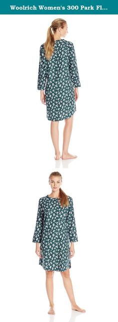 Woolrich Women's 300 Park Flannel Printed Nightshirt, Blue Fir Floral, Small. The fun patterns printed onto our incredibly soft 100 percent cotton flannel make this relaxed nightshirt the sleepwear you'll prefer on those cold winter nights. It's generously constructed for ease of movement with side vents and comfortable raglan sleeves. Pullover style pajamas with three-button Henley front.