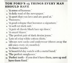 15 Things Every Man Should Have by Tom Ford
