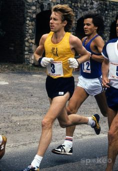 Bill Rodgers runs along the route during the 1980 Boston Marathon. Rodgers won the event and was crowned mens champion for the fourth time in five years.