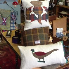 The Pheasant, The Thistle and Harris Tweed Cushions all in Create@freshandvintage