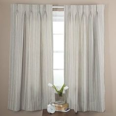 Ellis Curtain Springfield Stripe Pinch Pleat Curtain Panel - One Pair Pinch Pleat Curtains, Pleated Curtains, Patio Door Curtains, Hanging Curtains, Thermal Drapes, Blackout Drapes, Timber Table, Curtain Designs, Beautiful Living Rooms