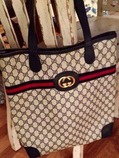 Gucci Long GG MonogramTote Bag Purse VTG Navy Red RARE Blue Shoulder 1970's Web