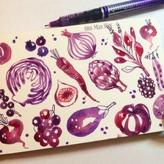 Moving onto purples /deep reds foods to add to the greens and bright reds sketchadays #theydrawandcook #foodillustration