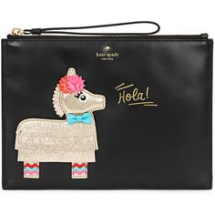 KATE SPADE NEW YORK Haute Stuff Bella Medium Leather Pouch ($150) ❤ liked on Polyvore featuring bags, handbags, leather fringe handbags, zip pouch, genuine leather purse, zip purse and leather handbags