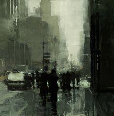 "Jeremy Mann ""Through the Snow, New York"" 12×12"