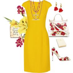 Because she loved yellow by easy-dressing on Polyvore featuring Oscar de la Renta, Dolce&Gabbana and Aspinal of London