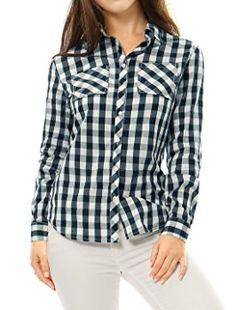 c6fa924a Allegra K Buste femme Bouton Poches Coton Chemise carreaux jusqu: Amazon.fr:  Vêtements