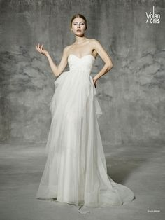 Yolan Cris Sweetheart A-Line Wedding Dress  with Empire Waist in Silk Organza. Bridal Gown Style Number:33215492