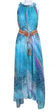 Blue Sleeveless Leopard Belt Chiffon Dress $88.71
