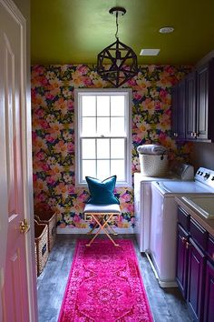 Impressive Bohemian Laundry Room Ideas To Inspire You - Its one of the most used rooms in the house but it never gets a makeover. What room is it? The laundry room. Almost every home has a laundry room and . Laundry Decor, Laundry Room Design, Bathroom Laundry, Wood Bathroom, Yellow Laundry Rooms, Laundry Room Wallpaper, Laundry Room Inspiration, Interior Design Blogs, Decoration