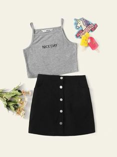Girls Letter Embroidered Rib-Knit Top & Buttoned Skirt Set – Kidenhouse