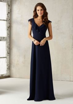 Morilee by Madeline Gardner Bridesmaids Style 21527 | Stunning Chiffon Bridesmaids Dress Features a Romantic Ruffled V Neckline and Open Keyhole Back. Zipper Back. Shown in Navy. Available in All Solid Chiffon Color Options.