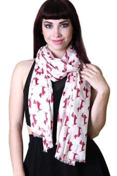 Women's Bella Dachshund Dog Print Fashion Scarf (Fashion Scarves, doxie scarf, dog print, animal print, dachshund scarves, shawls, wraps, cute, pretty, unique scarves, holiday scarf, holiday gifts for women, affordable, easy to wear, versatile shawls, designer scarves, stylish, modern, trendy, dog lovers, animal lovers, red doxie shawl