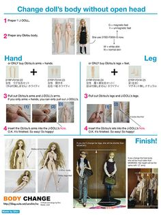 Change body without open head (English) by SHIN.world / Shin, via Flickr Obitsu body on J-Doll