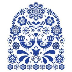 Folk Embroidery Design Folk art vector ornament with birds and flowers, Scandinavian navy blue floral pattern.Retro floral design inspired by Swedish and Norwegian traditional embroidery - Hand Embroidery Patterns Free, Folk Embroidery, Learn Embroidery, Embroidery Sampler, Embroidery Ideas, Design Floral, Art Design, Design Patterns, Art Patterns