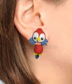 Red Blue Parrot Clinging Earrings