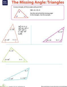 Printables Finding Missing Angles In Triangles Worksheet triangle angles the ojays math and shape worksheets missing angle triangles