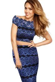 Royal blue crop top n skirt