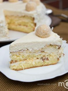 Just like its sibling Ferrero Rocher Cake, this cake doesn't lack in creative description. If you've ever had tried Raffaello Chocolates, you will recognize this cake immediately. It's moist, and tastes like candy with every bite. With the flaky snow-ish coconuts on the outside, this cake is perfect for winter.