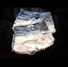 Custom Ombre Studded High Waisted Shorts..