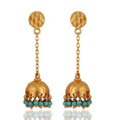 Turquoise Jhumka earring, Post back earring, Chandelier dangle Drop Earrings, sterling silver turquoise earring, beads jhumka, post earring