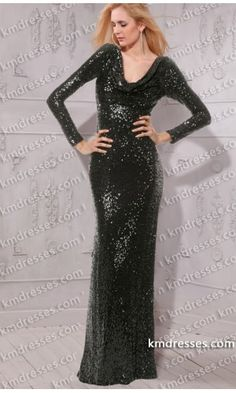 sophisticated Cowl neckline Long sleeves floor length Black sequins dress.prom dresses,formal dresses,ball gown,homecoming dresses,party dress,evening dresses,sequin dresses,cocktail dresses,graduation dresses,formal gowns,prom gown,evening gown.