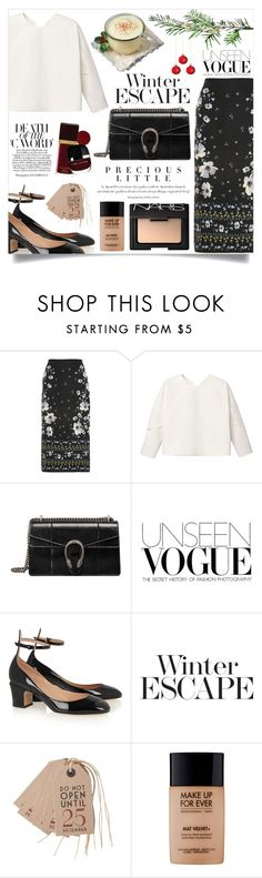 """""""Simple Outfit #239 : Christmas Mood"""" by rizkafathi ❤ liked on Polyvore featuring Erdem, MANGO, Gucci, Valentino, Agent Provocateur, East of India, MAKE UP FOR EVER, NARS Cosmetics, Christmas and polyvoreeditorial"""