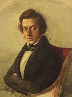 1836 watercolor portrait of Chopin by his friend Maria Wodzińska. The artist was sixteen years old; she was as in love with him as he was with her, but her family would never have consented to a marriage.
